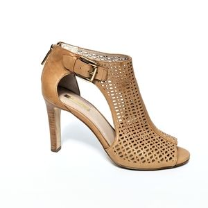 LOUISE ET CIE Tan Lasercut Leather Peeptoe Pumps 9